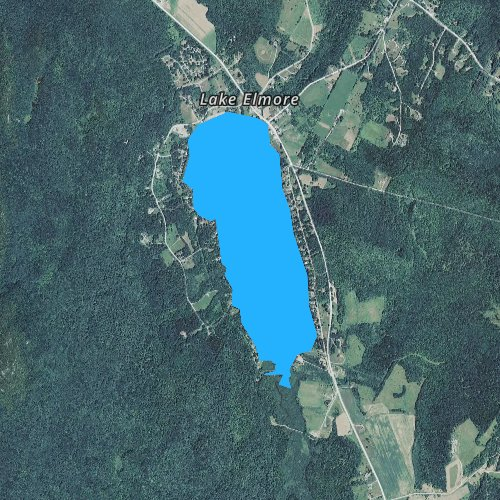 Fly fishing map for Lake Elmore, Vermont