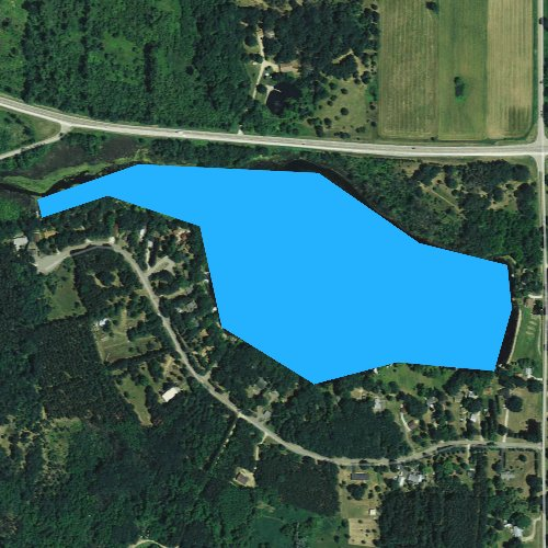 Fly fishing map for Lake Emery, Wisconsin