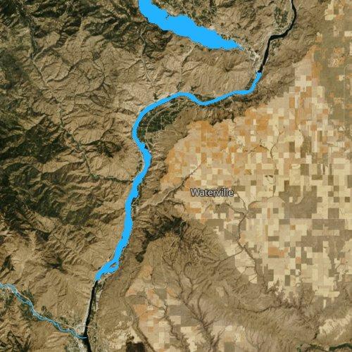 Fly fishing map for Lake Entiat, Washington