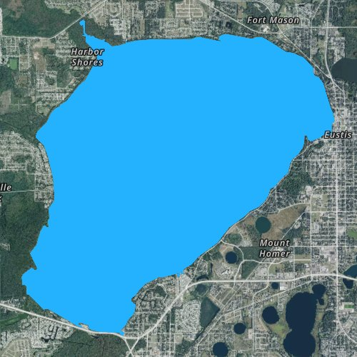 Fly fishing map for Lake Eustis, Florida