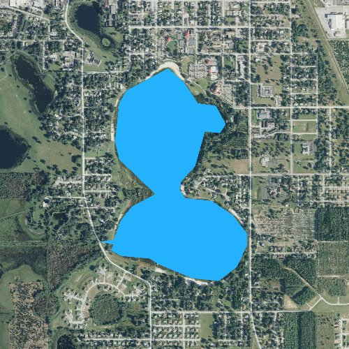 Fly fishing map for Lake Eva, Florida