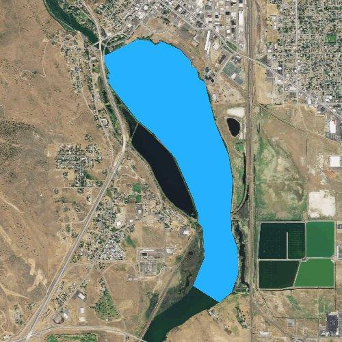 Fly fishing map for Lake Ewauna, Oregon
