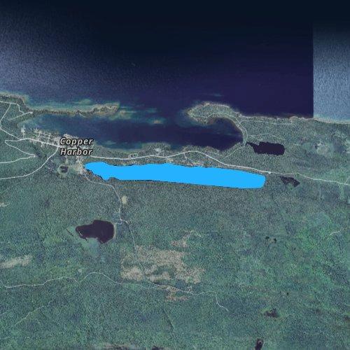 Fly fishing map for Lake Fanny Hooe, Michigan