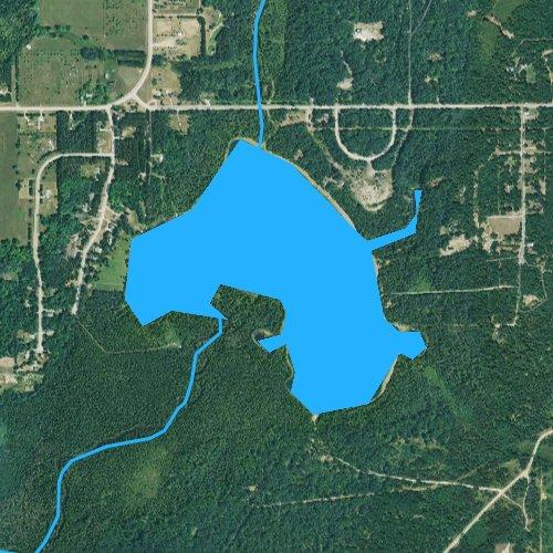 Fly fishing map for Lake Fifteen, Michigan