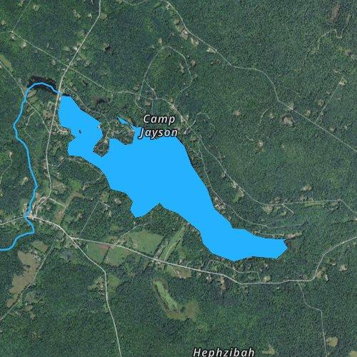 Fly fishing map for Lake Garfield, Massachusetts