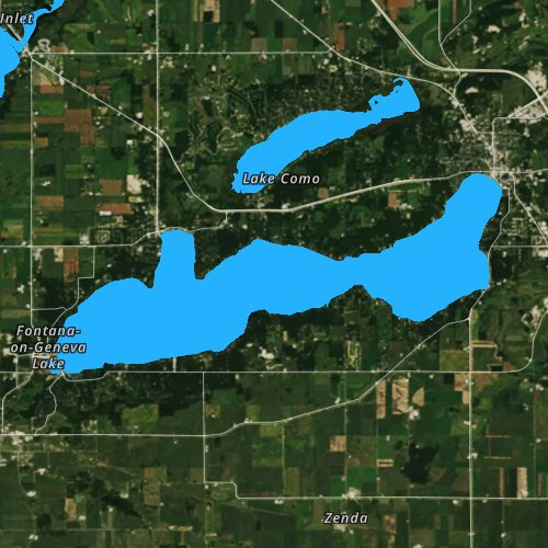 Fly fishing map for Lake Geneva, Wisconsin