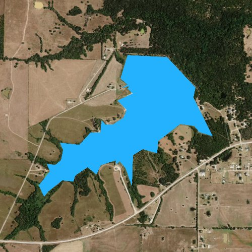 Fly fishing map for Lake Gibbons, Texas
