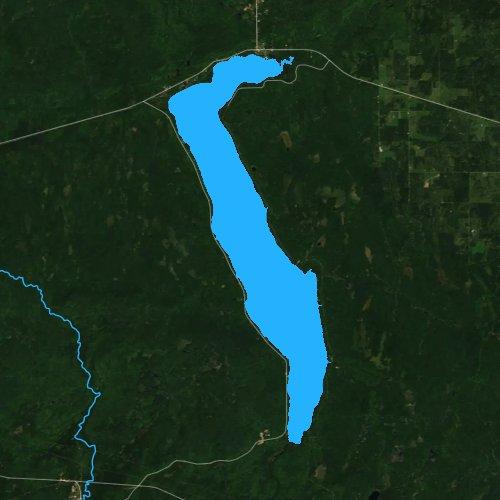 Fly fishing map for Lake Gogebic, Michigan