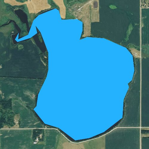 Fly fishing map for Lake Goldsmith, South Dakota