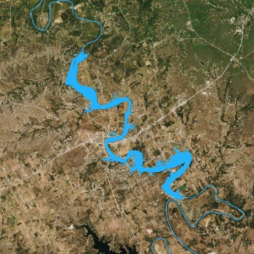 Fly fishing map for Lake Granbury, Texas