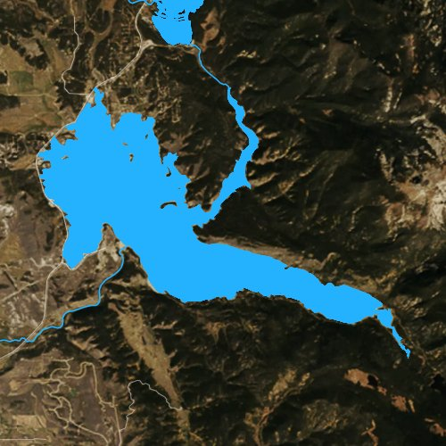 Fly fishing map for Lake Granby, Colorado