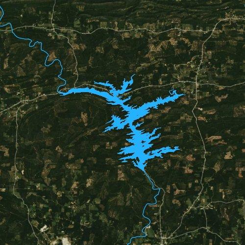 Fly fishing map for Lake Greeson, Arkansas