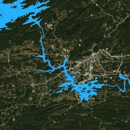 Fly fishing map for Lake Hamilton, Arkansas