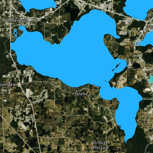 Fly fishing map for Lake Harris, Florida