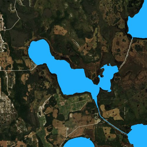Fly fishing map for Lake Hatchineha, Florida