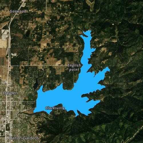 Fly fishing map for Lake Hayden, Idaho
