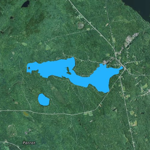 Fly fishing map for Lake Hebron, Maine