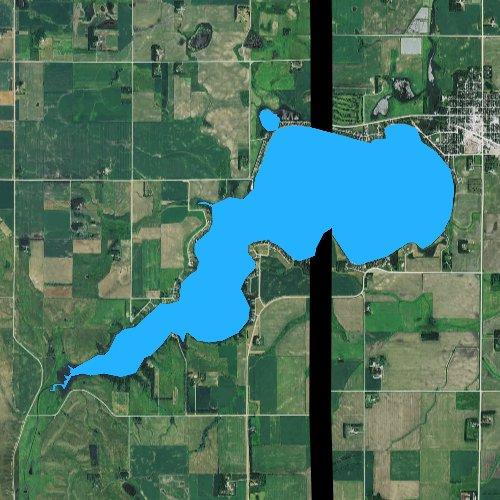 Fly fishing map for Lake Hendricks, South Dakota