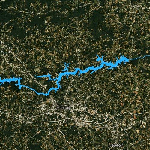 Fly fishing map for Lake Hickory, North Carolina