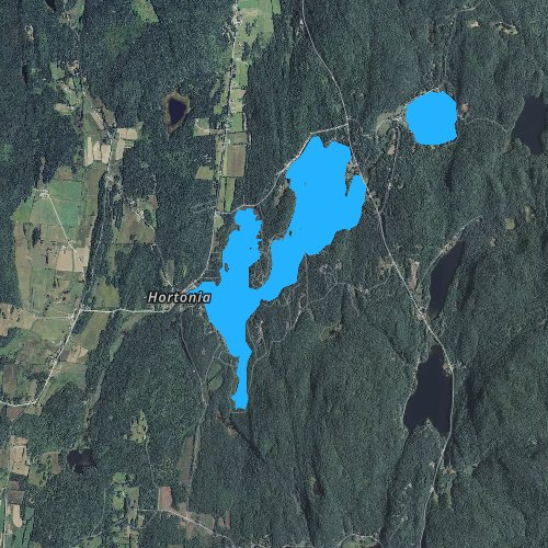 Fly fishing map for Lake Hortonia, Vermont