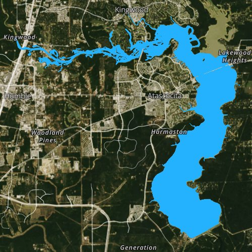 Fly fishing map for Lake Houston, Texas