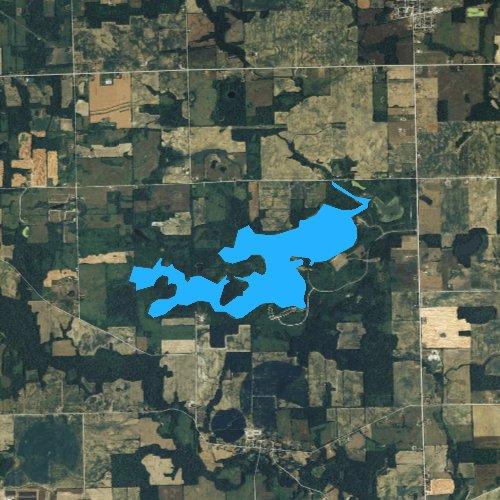 Fly fishing map for Lake Hudson, Michigan