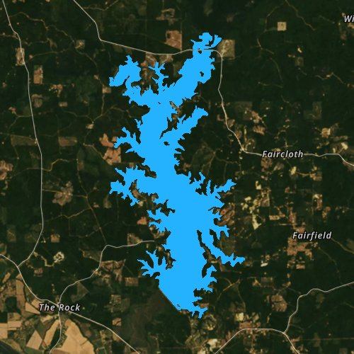 Fly fishing map for Lake Iatt, Louisiana