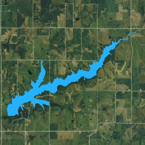 Fly fishing map for Lake Icaria, Iowa