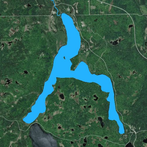 Fly fishing map for Lake Itasca, Minnesota
