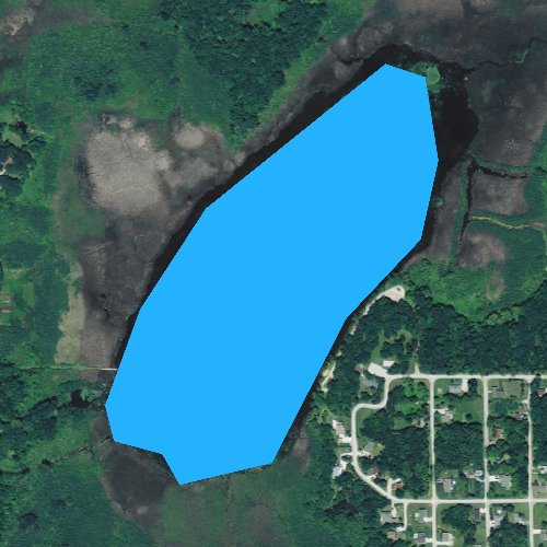 Fly fishing map for Lake Ivanhoe, Wisconsin