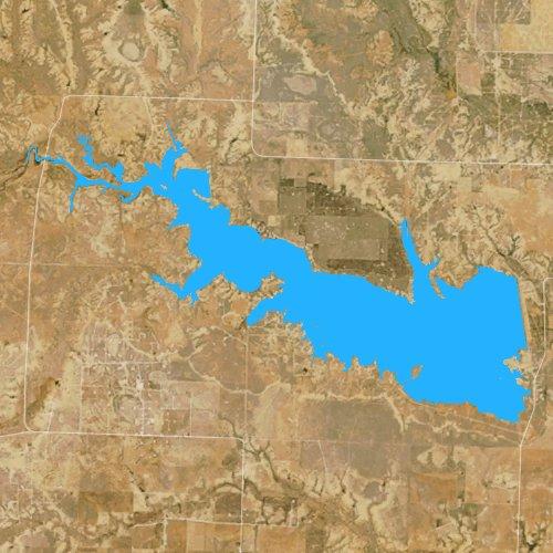 Fly fishing map for Lake J B Thomas, Texas