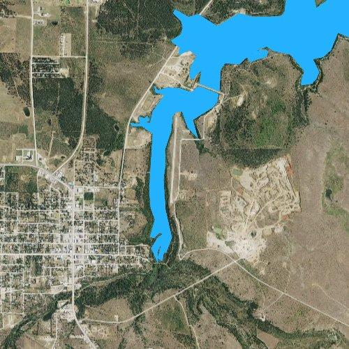 Fly fishing map for Lake Jacksboro, Texas
