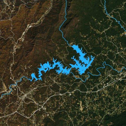 Fly fishing map for Lake James, North Carolina