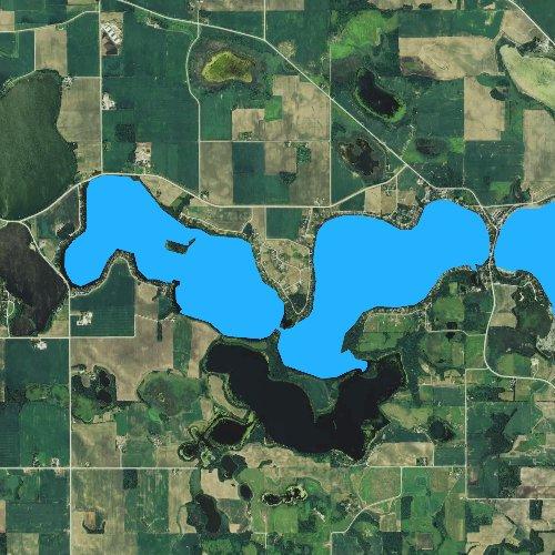 Fly fishing map for Lake Jefferson, Minnesota