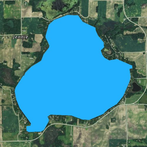 Fly fishing map for Lake Jennie, Minnesota