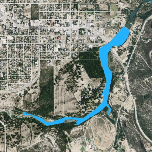 Fly fishing map for Lake Junction, Texas