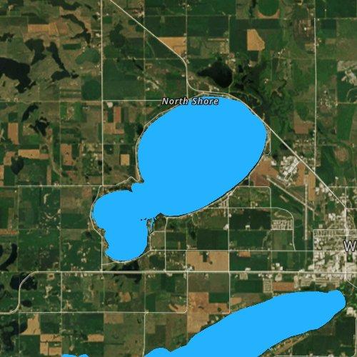 Fly fishing map for Lake Kampeska, South Dakota