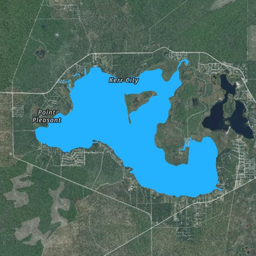 Fly fishing map for Lake Kerr, Florida
