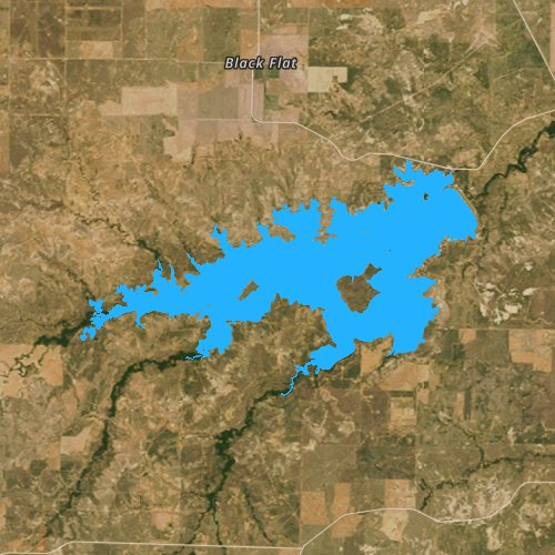 Fly fishing map for Lake Kickapoo, Texas