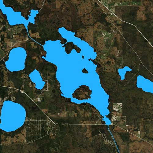 Fly fishing map for Lake Kissimmee, Florida