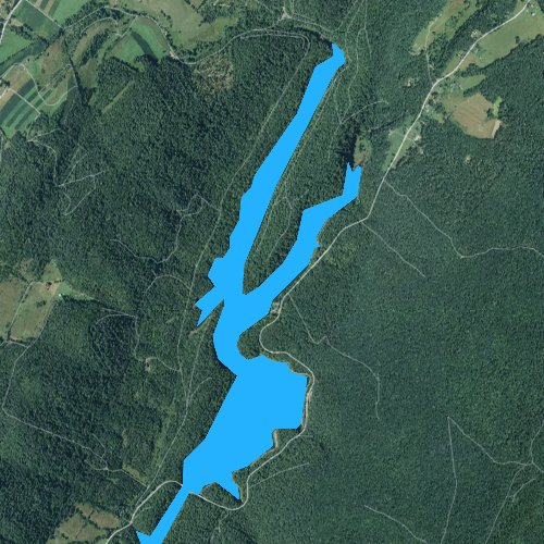 Fly fishing map for Lake Koon, Pennsylvania