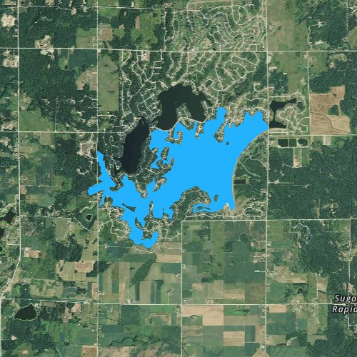Fly fishing map for Lake Lancer, Michigan