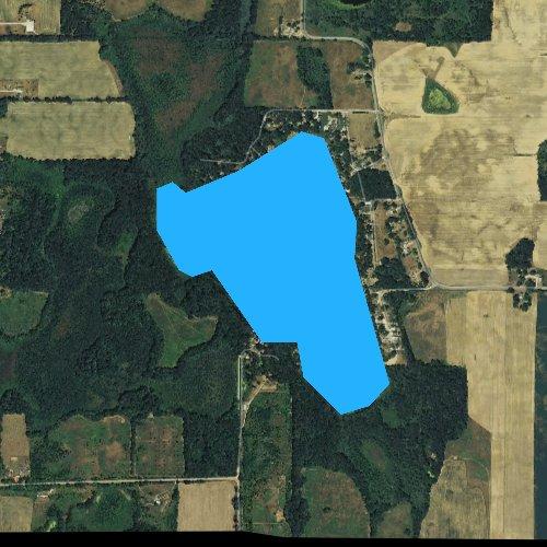 Fly fishing map for Lake Lavine, Michigan