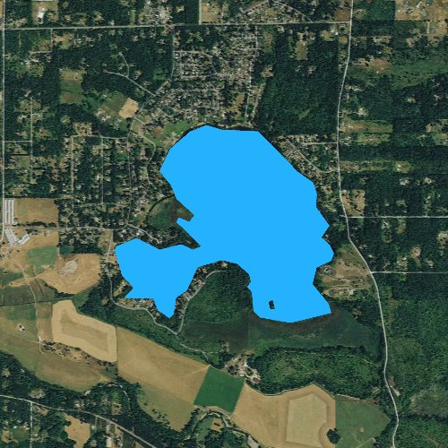 Fly fishing map for Lake Lawrence, Washington