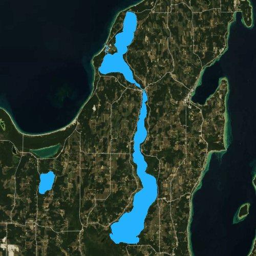 Fly fishing map for Lake Leelanau, Michigan