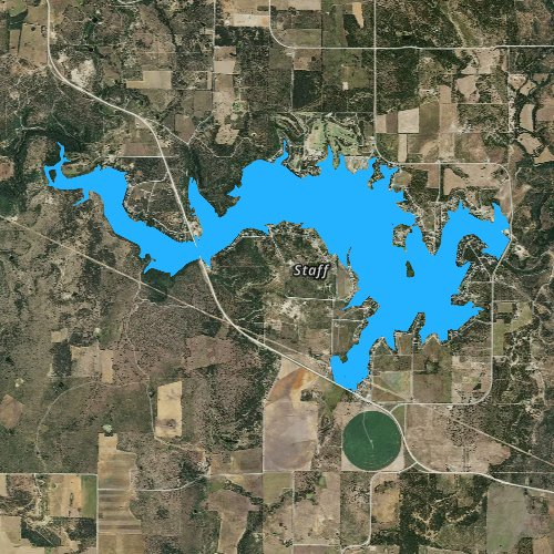 Fly fishing map for Lake Leon, Texas