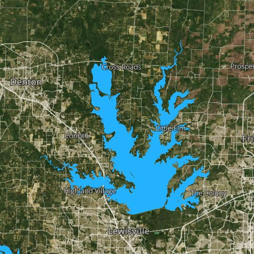 Fly fishing map for Lake Lewisville, Texas