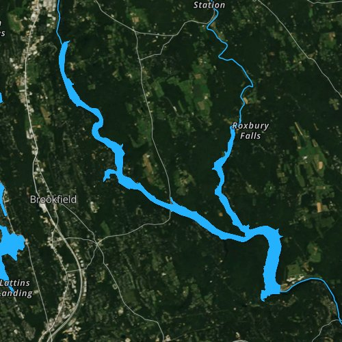 Fly fishing map for Lake Lillinonah, Connecticut