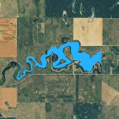 Fly fishing map for Lake Louise, South Dakota