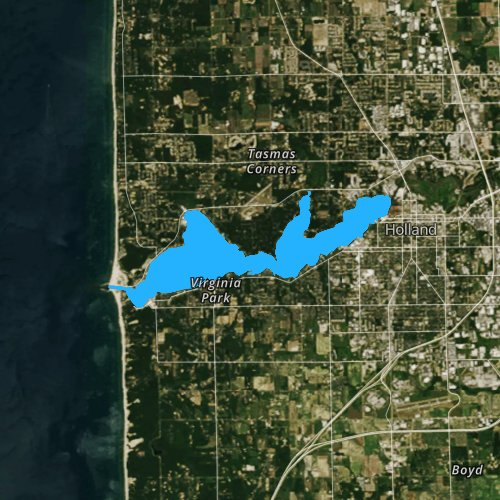 Fly fishing map for Lake Macatawa, Michigan